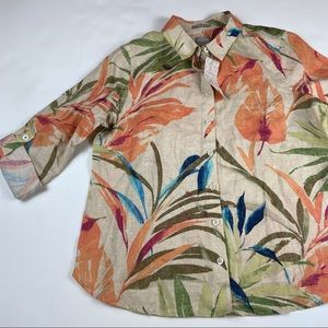 NEW Chico's Leaf Print Linen Button Down Shirt Top